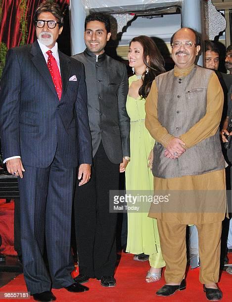 Amitabh Abhishek and Aishwarya Rai Bachchan with Amar Singh at the wedding reception of Laila Khan and Farhan Furniturewala in Mumbai on April 16 2010