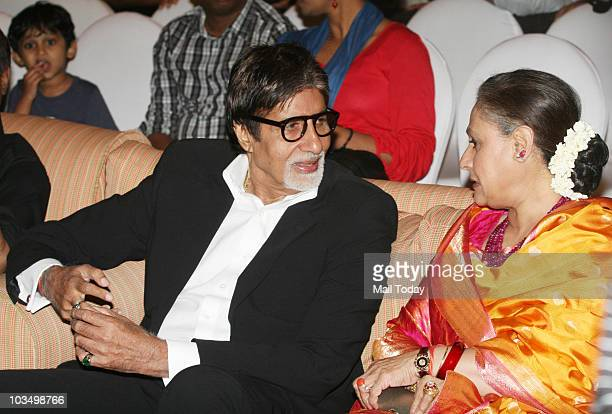 Amitabh and Jaya Bachchan during the music launch of the film 'Robot' in Mumbai on August 14 2010