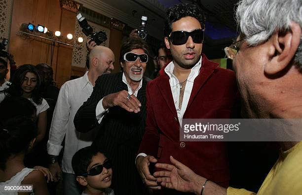 Amitabh Bachchan Abhishek Bachchan Shweta Bachchan with kids and Javed Akhtar at the music launch of Bollywood movie Kabhi Alvida Naa Kehna at Grand...