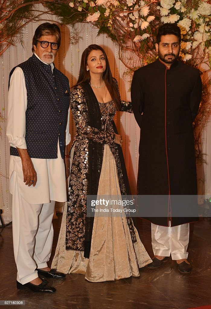 Amitabh Bachchan Aishwarya Rai Bachchan and Abhishek Bachchan at Bipasha Basu and Karan Singh Grovers wedding reception ceremony at St Regis Hotel in.