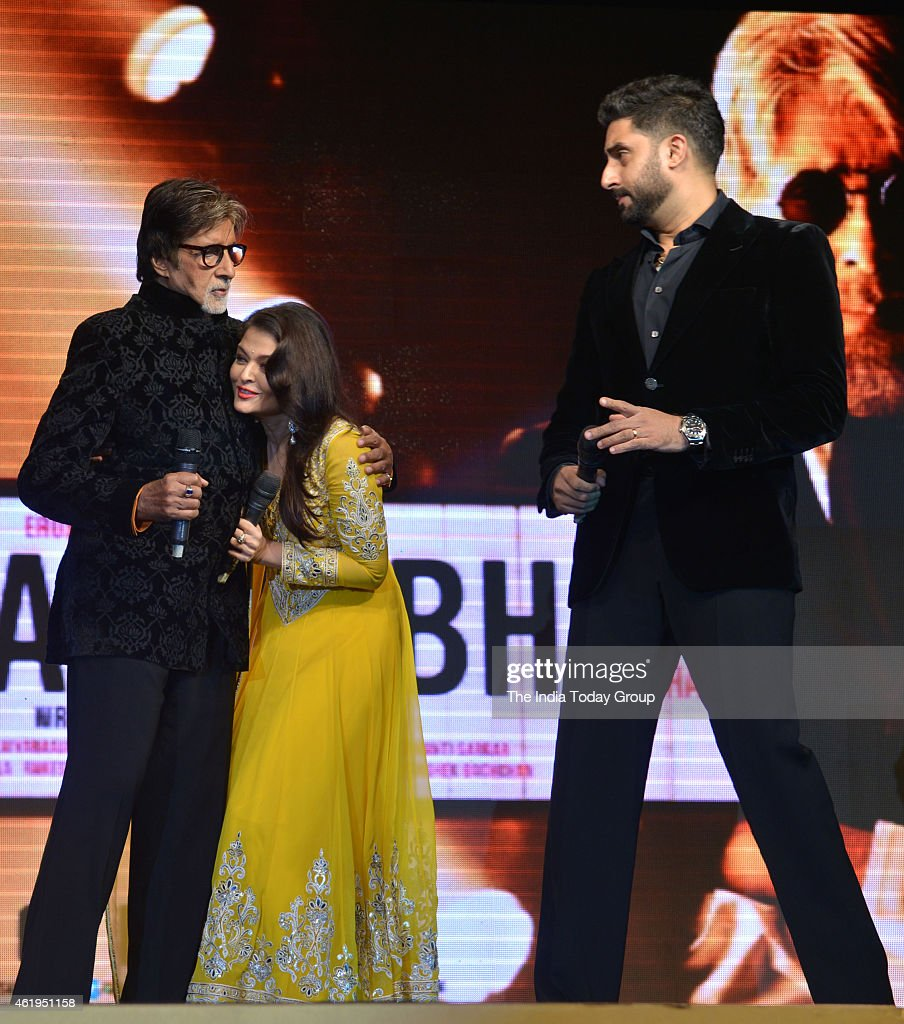 Amitabh Bachchan Aishwarya Rai Bachchan and Abhishek Bachchan at the music launch of Shamitabh and celebrating 1000 films of Ilaiyaaraaja music