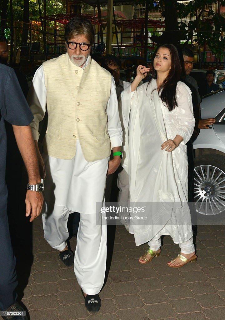 Amitabh Bachchan and Aishwarya Rai Bachchan at Aadesh Shrivastavas prayer meeting in Mumbai