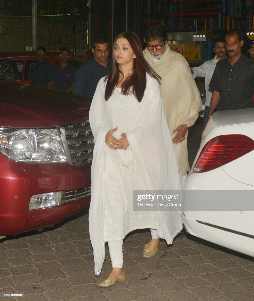 Amitabh Bachchan and Aishwarya Rai Bachchan at the prayer meet of Ram Mukherjee at Iscon Temple in Mumbai