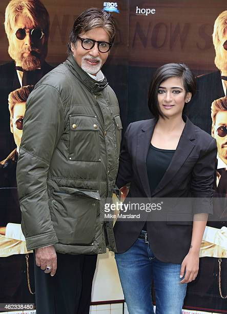 Amitabh Bachchan and Akshara Haasan attends a photocall for 'Shamitabh' at St James Court Hotel on January 27 2015 in London England