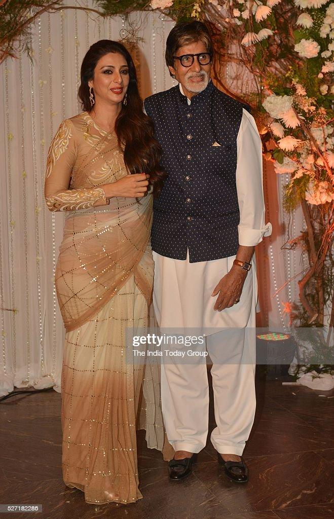 Amitabh Bachchan and Tabu at Bipasha Basu and Karan Singh Grovers wedding reception ceremony at St Regis Hotel in Mumbai
