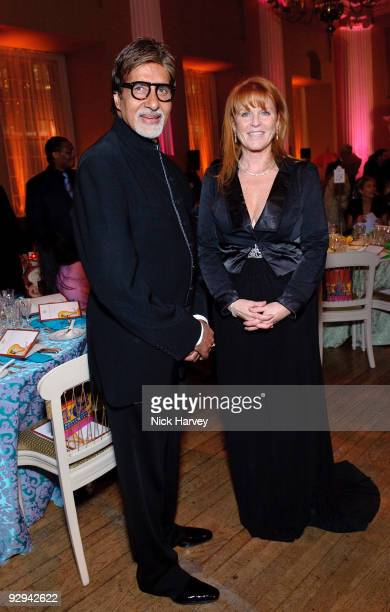 Amitabh Bachchan and The Duchess of York attend the Royal Rajasthan charity Gala on November 9 2009 in London England