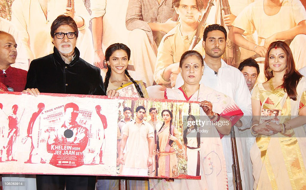 Amitabh Bachchan Deepika Padukone Jaya Abhishek and Aishwarya Rai Bachchan during the music launch of the film `Khelein Hum Jee Jaan Sey` in Mumbai...
