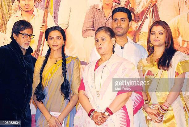 Amitabh Bachchan Deepika Padukone Jaya Abhishek and Aishwarya Rai Bachchan during the music launch of the film 'Khelein Hum Jee Jaan Sey' in Mumbai...