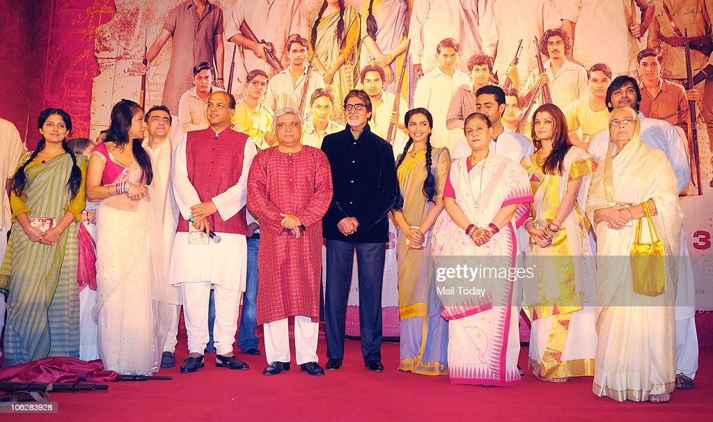 Amitabh Bachchan Deepika PadukoneAshutosh Gowariker Sunita Gowriker Javed Akhtar Jaya Abhishek and Aishwarya Rai Bachchan during the music launch of..