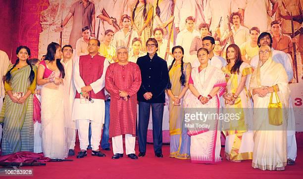 Amitabh Bachchan Deepika PadukoneAshutosh Gowariker Sunita Gowriker Javed Akhtar Jaya Abhishek and Aishwarya Rai Bachchan during the music launch of...