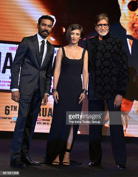 Amitabh Bachchan Dhanush and Akshara Haasan at the music launch of Shamitabh and celebrating 1000 films of Ilaiyaaraaja music