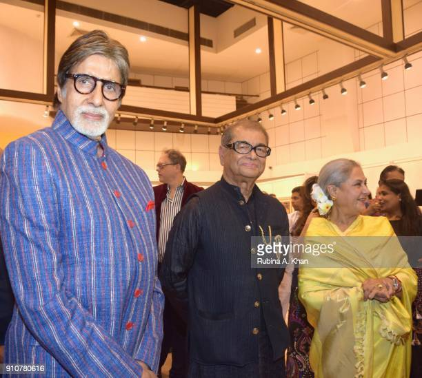 Amitabh Bachchan Dilip De and Jaya Bachchan at De's Smartphone School Of Art Exhibit 'Celebration Of The Unexpected' at Jehangir Art Gallery on...
