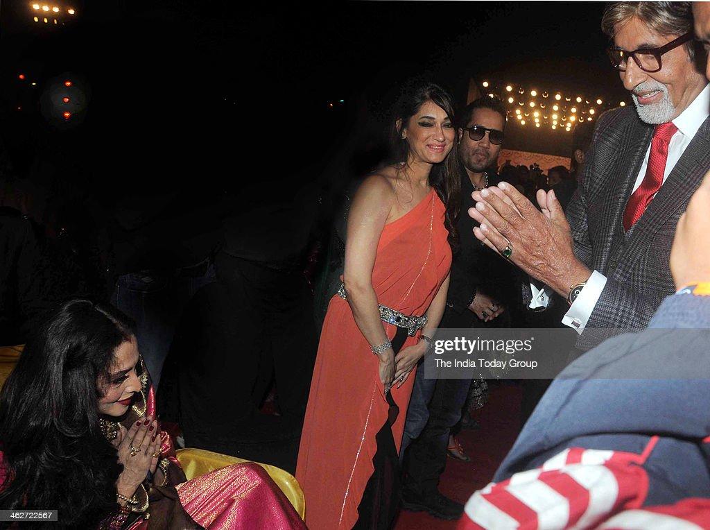 Amitabh Bachchan greets Rekha during the 20th Annual Life OK Screen Awards in Mumbai