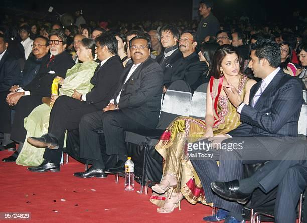 Amitabh Bachchan Jaya Bachchan Aishwarya Rai Bachchan and Abhishek Bachchan at the Apsara awards ceremony in Mumbai on Friday January 8 2010