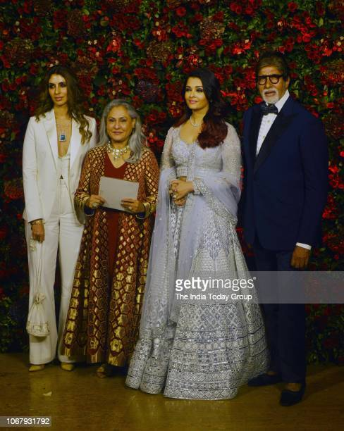 Amitabh Bachchan Jaya Bhaduri Bachchan Aishwarya Rai and Shweta BachchanNanda at Ranveer Singh and Deepika Padukones reception in Mumbai