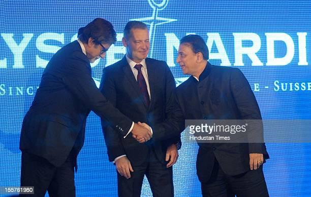 Amitabh Bachchan, Patrick Hoffman and Sunil Gavaskar attend an event organised by Ulysse Nardin to honour Sunil Gavaskar at Taj Mahal hotel, Colaba...