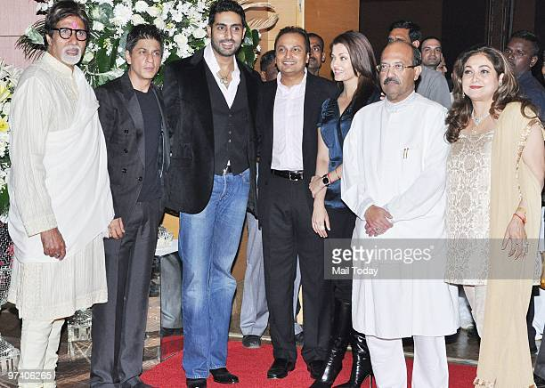 Amitabh Bachchan Shah Rukh Khan Abhishek Bachchan Anil Ambani Aishwarya Rai Amar Singh and Tina Ambani at Big Pictures' success bash held in Mumbai...