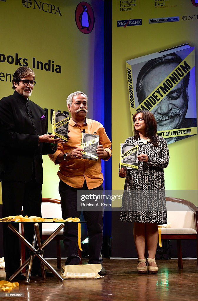 Amitabh Bachchan with Piyush Pandey and Ashwarya Milee, Editor-in-Chief, Penguin Random House India at the launch of Pandeymonium at the Jamshed Bhabha Theatre on October 14, 2015 in Mumbai, India.