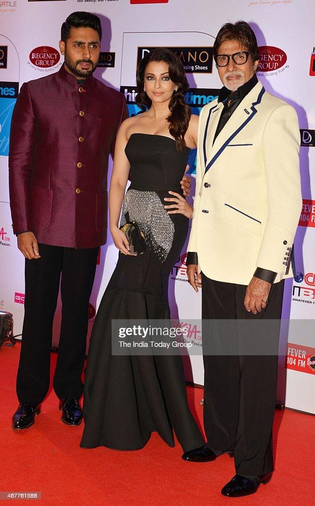 Amitabh BachchanAbhishek Bachchan and Aishwarya Rai Bachchan at HT Mumbais most stylish awards 2015 in Mumbai