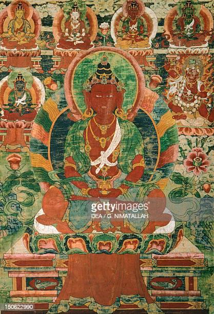 Amitabha the Buddha of heaven tempera on cotton Buthan Civilisation 19th century
