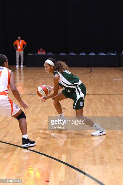Amiyah Reynolds of Midwest Girls handles the ball against South Girls during the Jr NBA World Championship on August 7 2018 at the ESPN Wide World of...