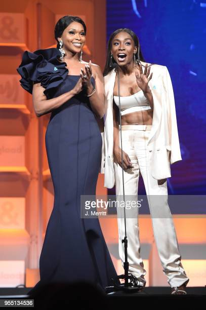 Amiyah Scott and Angelica Ross speak onstage at the 29th Annual GLAAD Media Awards at The Hilton Midtown on May 5 2018 in New York City