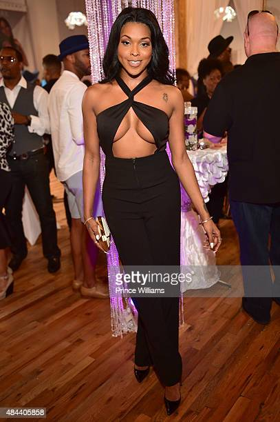 Amiyah Scott attends Kenya Moore Hair Care Launch Event at M Rich Building on August 17 2015 in Atlanta Georgia
