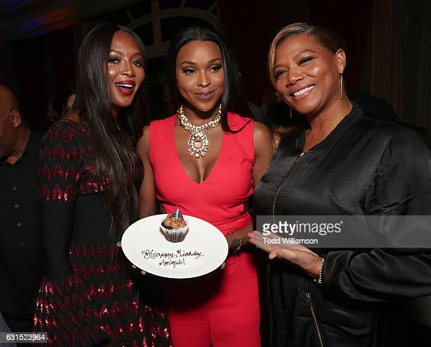 Amiyah Scott celebrates her brithday with Naomi Campbell and Queen Latifah at the 2017 Winter TCA Tour FOX AllStar Party at Langham Hotel on January...
