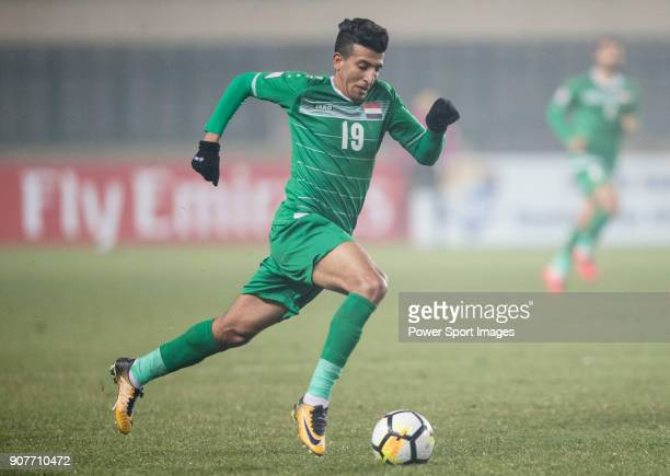 Amjed Attwan of Iraq in action during the AFC U23 Championship China 2018 Group C match between Iraq and Jordan at Changshu Sports Center on 16...