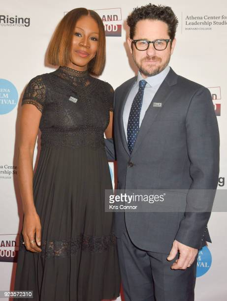 Amma Asanate and JJ Abrams attend the 2018 Athena Film Festival Awards Ceremony at The Diana Center At Barnard College on February 23 2018 in New...