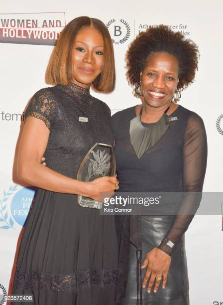 Amma Asanate and Tina Campt attend the 2018 Athena Film Festival Awards Ceremony at The Diana Center At Barnard College on February 23 2018 in New...