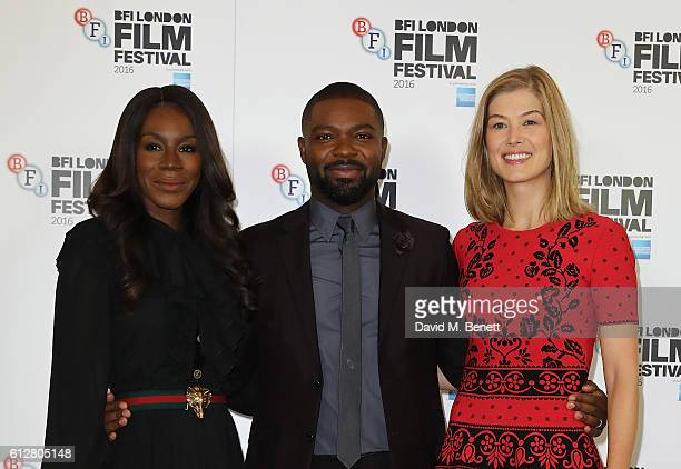 Amma Asante David Oyelowo and Rosamund Pike attend the 'A United Kingdom' photocall during the 60th BFI London Film Festival at The Mayfair Hotel on...