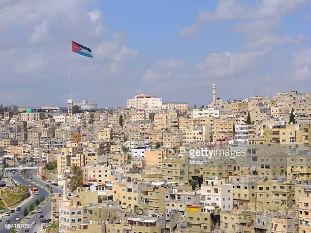 Amman flag and skyline, Jordan