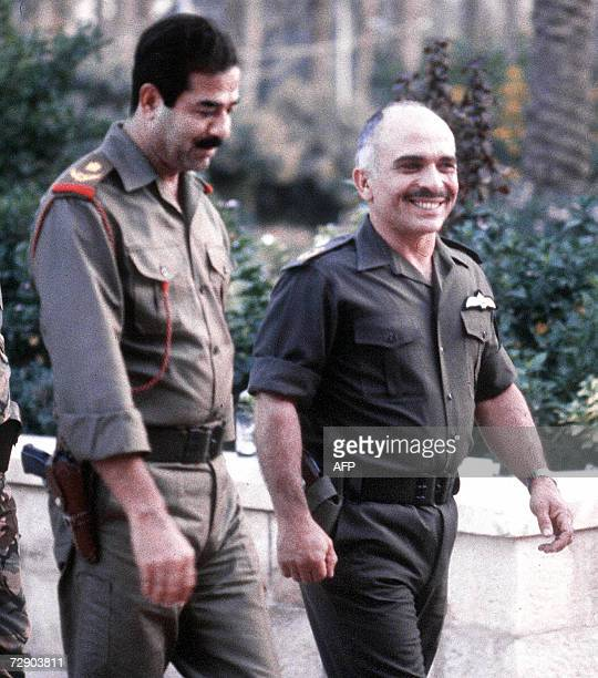 A picture dated October 1980 shows Jordan King Hussein walking with Iraqi President Saddam Hussein in Amman King Hussein was proclaimed clinically...