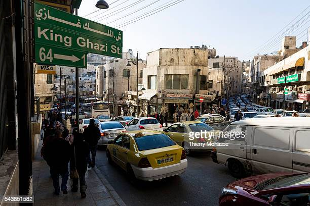 Amman, Jordan, February 8; 2014. -- Traffic jam in the street of Amman.