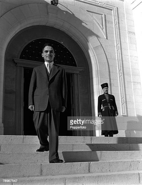 Amman Jordan Middle East King Hussein of Jordan is pictured on the steps of his palace