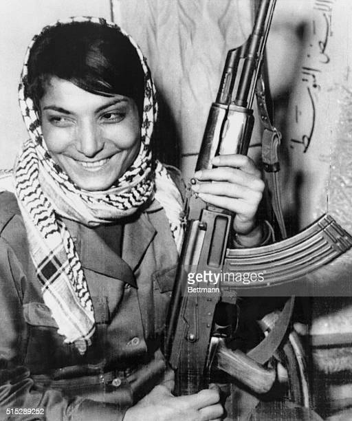 Amman, Jordan: Miss Layla Khaled, one of two hijackers of an American T.W.A. Jetliner in Damascus 8/29, smiles after returning to her guerrilla base...