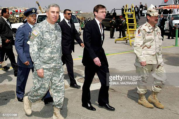 The commander of US forces in the Middle East General John Abizaid and the US ambassador to Jordan David Hale visit the Special Operation Forces...