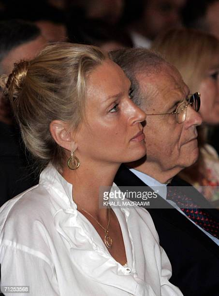 US actress Uma Thurman attends the opening ceremony of the Second Petra Conference of Nobel Laureates 21 June 2006 in the ancient city of Petra about...