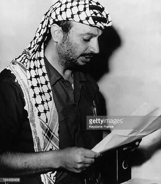 Amman. Leader of the Palestinian resistance's central committee Yasser ARAFAT is reading his communique rejecting all the American proposals -...
