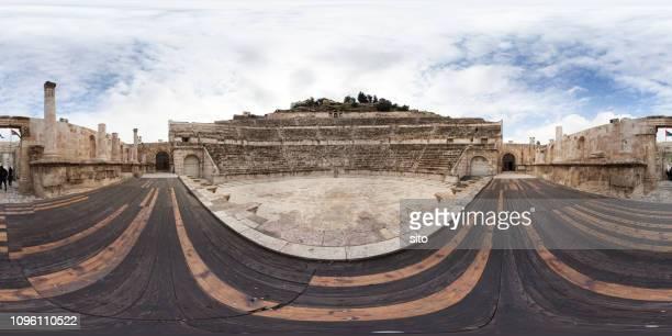amman roman amphitheater 360 panorama - 全天周パノラマ ストックフォトと画像