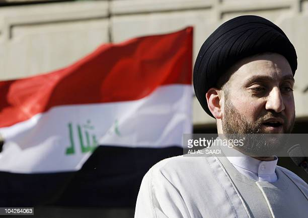 Ammar al-Hakim, the leader of the Supreme Islamic Iraqi Council delivers the Eid al-Fitr prayer sermon at his headquarters in Baghdad on September...