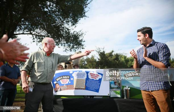 Ammar CampaNajjar who is running for congress in California's 50th District listens to Ben Cohen founder of Ben Jerry's ice cream during a campaign...