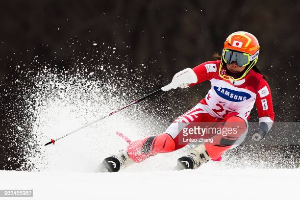 Ammi Hondo of Japan competes in the Alpine Skiing Women's Slalom Run 1 Standing during day nine of the PyeongChang 2018 Paralympic Games on March 18...
