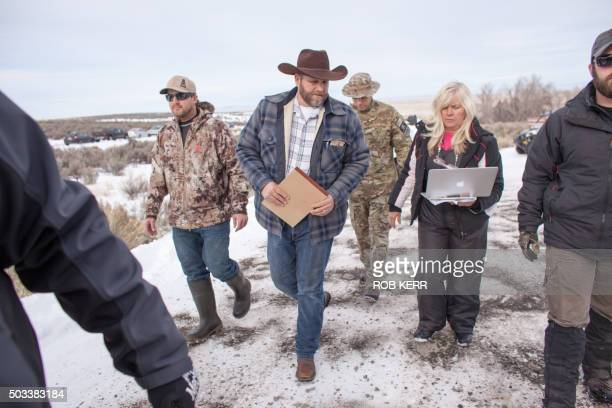 Ammon Bundy leader of a group of armed antigovernment protesters arrives to speak to the media at the Malheur National Wildlife Refuge near Burns...