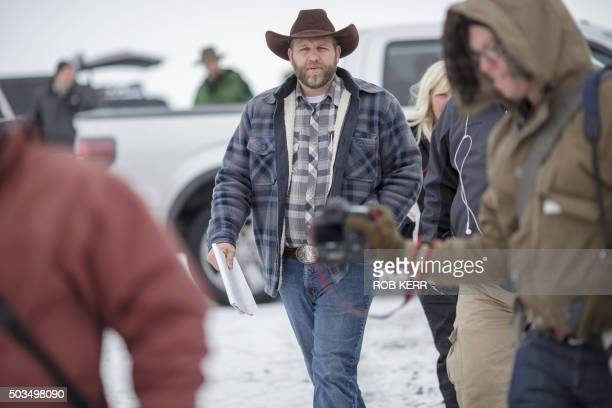 Ammon Bundy leader of an armed antigovernment militia leaves after making a statement at a news conference at the Malheur National Wildlife Refuge...
