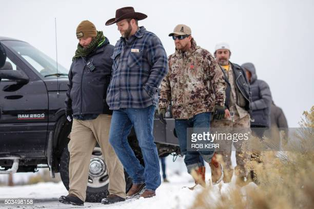 Ammon Bundy leader of an armed antigovernment militia returns to the Malheur National Wildlife Refuge Headquarters near Burns Oregon January 5 2016...