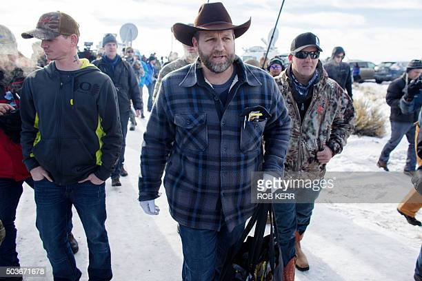 Ammon Bundy makes his way from a news conference at the Malheur National Wildlife Refuge Headquarters in Burns Oregon on January 6 2016 A small group...