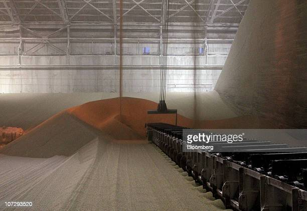 OAO Ammophos phosphate plant fertilizer is seen in a warehouse before processing at the OAO PhosAgro plant in Cherepovets Russia on Thursday Dec 2...