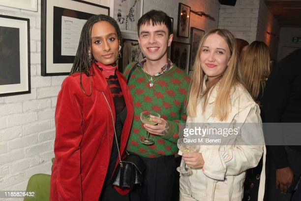 Ammy Drammeh Aidan Zamiri and Bethany Williams attend The Fashion Awards 2019 cocktail reception to celebrate the Nominees and New Wave Creatives at...